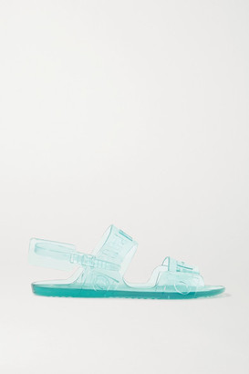 Off-White Logo-embossed Rubber Slingback Sandals - Light blue