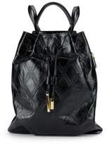 Halston Leather Drawstring Backpack