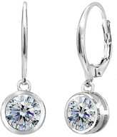 Swarovski Designs By Fmc Designs by FMC Women's Earrings silver - Sterling Silver Bezel Round Drop Earrings With Crystals
