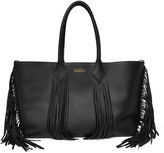 Sara Battaglia Fringed textured-leather tote