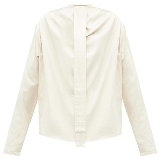 Lemaire Neck-tie Cotton-satin Blouse - Ivory