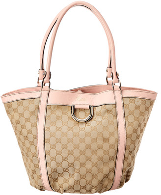 Gucci Brown Gg Canvas & Pink Leather D-Ring Tote
