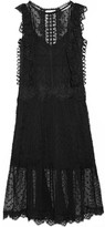 Zimmermann Oleander Lattice And Lace-trimmed Swiss-dot Silk-georgette Dress - Black