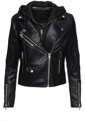 Blank NYC Faux Leather Moto Jacket with Removable Hood