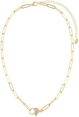 Adina's Jewels Pave Heart Chain Link Necklace