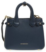 Burberry 'Mini Banner' House Check Leather Tote - Black