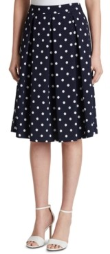 Tahari ASL Dot-Print Pleated Skirt