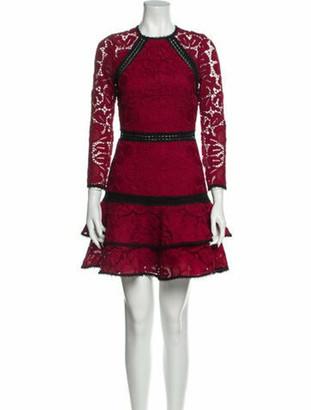 Alexis Lace Pattern Mini Dress Red
