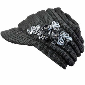 DEELIN Women Knitted Hat Gril Korean Version New Autumn Winter Warm Ladies French Beret Hat Foldable Brim Sequin Applique UV Protection Outdoor Cap Black