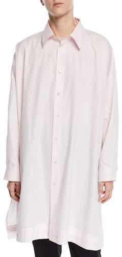 eskandar Wide A-Line Pleated-Edge Poplin Shirt