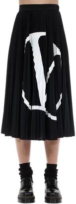 Valentino V Logo Print Jersey Midi Skirt