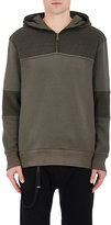 Helmut Lang Men's French Terry Contrast Inset Hoodie-DARK GREEN