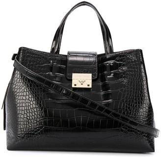 Emporio Armani Crocodile Effect Tote Bag