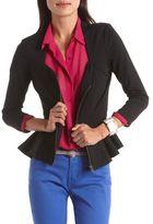 Charlotte Russe Zip-Front Peplum Blazer