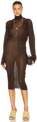 Bottega Veneta Rib Turtleneck Midi Dress in Bark | FWRD