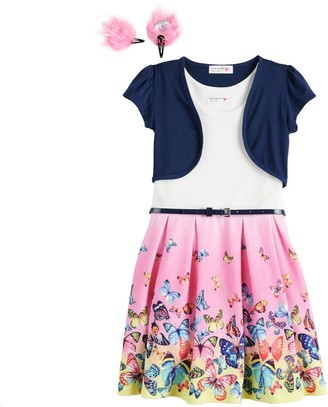 Knitworks Girls 4-6x Skater Dress and Shrug Set with Belt and Hair Clips