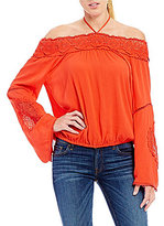 GUESS Riley Off-The-Shoulder Crochet Top