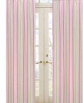 JoJo Designs Pink and Green Jungle Friends Stripe Window Treatment Panels by Sweet Set of 2