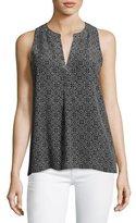 Joie Aruna Sleeveless Printed Silk Top, Gray