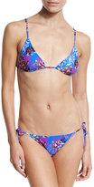Etro Floral-Print Tie-Side String Bikini Set, Blue Multi