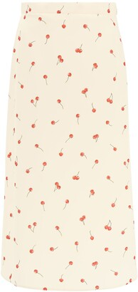 Miu Miu Cherry Print Midi Skirt