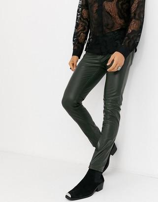 Asos Design DESIGN skinny fit jeans in olive leather look-Green