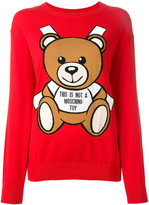 Moschino paper toy bear intarsia jumper