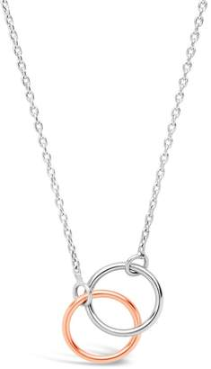 Sterling Forever 14K Rose Gold Vermeil & Sterling Silver Interlocking Rings Pendant Necklace