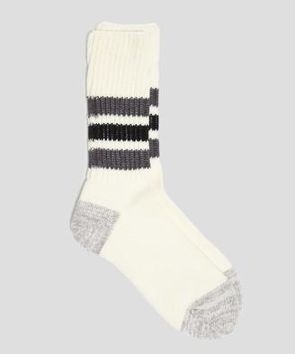 RoToTo Coarse Ribbed Old School Sock in Black/Grey