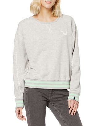 True Religion Women's Reflective Long Sleeve Fleece Crewneck Top