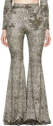 Vetements Black and Beige Leopard Evening Flared Lounge Pants