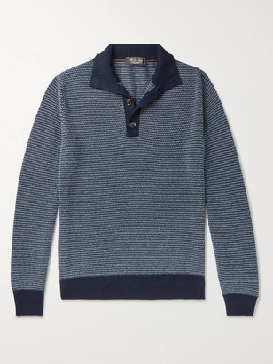 Loro Piana Slim-Fit Suede-Trimmed Baby Cashmere Half-Placket Sweater