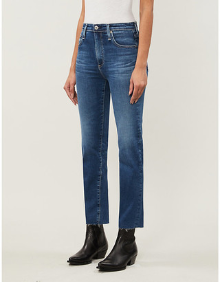 AG Jeans Ladies Blue Isabelle Straight High-Rise Cropped Jeans, Size: 24