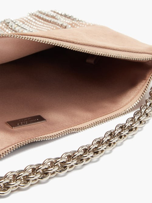 Thumbnail for your product : Jimmy Choo Callie Crystal-embellished Suede Clutch Bag - Silver Multi