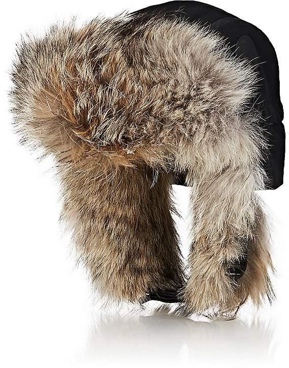 Canada Goose Men's Coyote-Fur-Trimmed Herringbone Trapper Hat