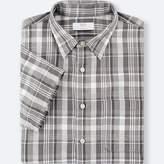Uniqlo Men's Linen Cotton Checked Short-sleeve Shirt
