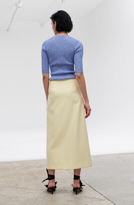 Ganni Summer Suiting High-Waisted Asymmetrical Midi Skirt
