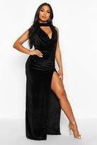 boohoo Halter Neck Velvet Backless Maxi Dress