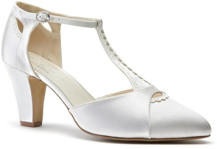 fb0d31d4567 Paradox London Belmont Ivory Low Block Heel T-Bar Open Court Shoes