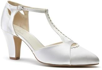 Linzi Paradox London Belmont Ivory Low Block Heel T-Bar Open Court Shoes