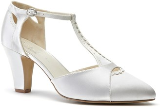 Linzi Paradox London Belmont Ivory Low Block Heel T-Bar Open Court Shoes