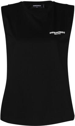 DSQUARED2 padded shoulders sleeveless T-shirt