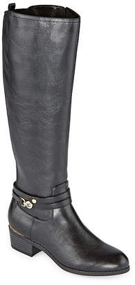 Liz Claiborne Womens Tacca Stacked Heel Riding Boots