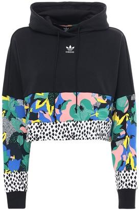 adidas Printed Crop Cotton Sweatshirt Hoodie