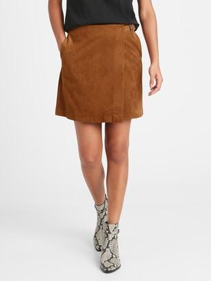 Banana Republic Petite Vegan Suede Wrap Mini Skirt
