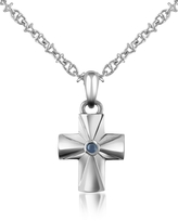 Forzieri Central Sapphire Stainless Steel Cross Pendant Necklace