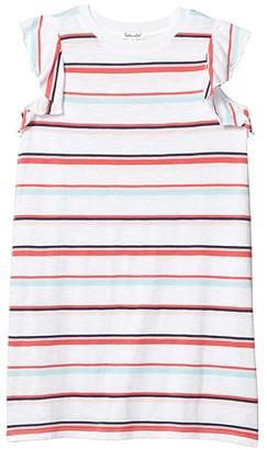 Splendid Littles Multi Stripe Dress (Big Kids) (Optic White) Girl's Clothing