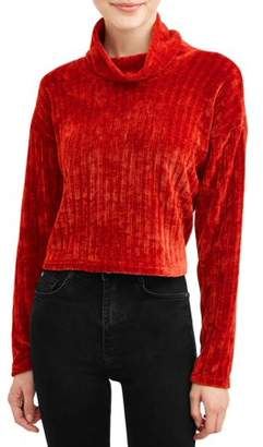 Poof Apparel Poof! Juniors' Chenille Long Sleeve Turtleneck Sweater