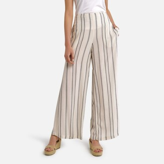 Anne Weyburn Striped Wide Leg Trousers, Length 30.5""