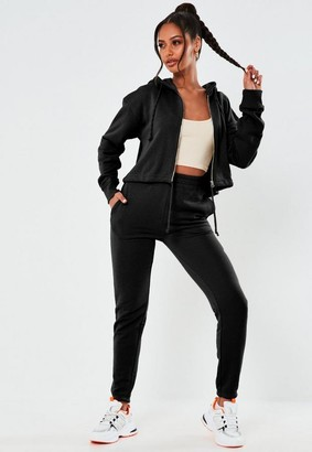 Missguided Black Cropped Hoodie And Joggers Co Ord Set